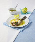 Gilt-head bream filets with olive cream filling and cheese