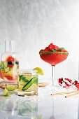 Strawberry and basil frozen margarita, Cucumber, coconut and mint mojito