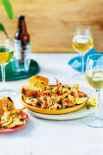 Prawns with chilli-butter and garlic bread