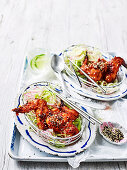 Korean chicken wings with sweet and sour cucumber noodles (Low Carb)