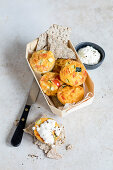 Small vegetable frittatas with cottage cheese