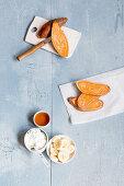 Ingredients for making sweet potato toast