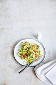 Zoodles with avocado and tomatoes