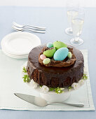 Coffee and chocolate cake decorated with an Easter basket