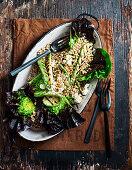 Lettuce, Vegan 'Feta' and Zucchini Barley Salad