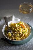 Nuvole pasta with shrimp and citrus pesto