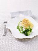 Turbot with a potato crust and broccoli cream