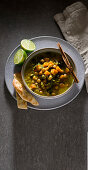 Chickpea and pumpkin soup with red lentils
