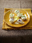Ricotta balls with parmesan and mustard