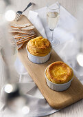 Carrot and gorgonzola soufflé with bread chips