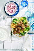 Greek Lamb Kofta white Beans and Beetroot Tzatziki