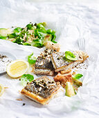 Barramundi with Roasted Sprouts and Crisp Capers