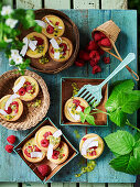 Passionfruit Curd Tarts with Raspberries and Coconut