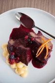 Yoghurt savarin with red berries
