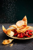Mozzarella pockets with fresh strawberries and balsamic cream