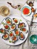 Rock oysters with finger lime dressing