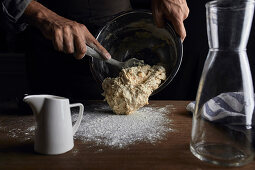 Putting the sourdough out to a table