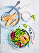 Crispy Fish with Rainbow Salad