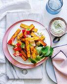 Polenta chips with nasturtium aioli