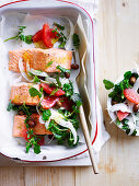 Baked Ocean Trout with Ruby Grapefruit salad