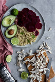 Healthy dish with quinoa, beetroot and pulled chicken