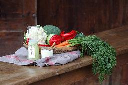 Whey, whey powder and fresh vegetables