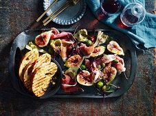 Prosciutto and Antipasti Salad with fresh figs