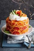 Blood orange cake with rum oranges