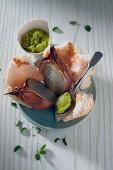 Onions with a salt crust with fava bean purée