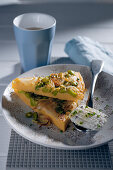 Frittata with chickpea flour, spring onions and fava beans
