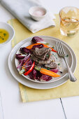 Prime boiled beef with sweet-and-sour vegetables and peppermint olive oil