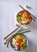 Asian noodles with shredded turkey