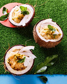 Pineapple granita with passionfruit and mint