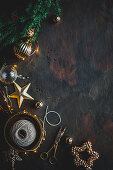 Christmas decoration (Christmas baubles, scissors, string)