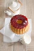 Angel cake with raspberry glaze