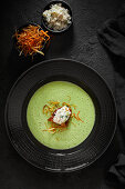 Parsley root cream with trout tartare, croutons and vegetable straws