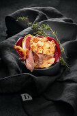 Stollen burger with chicken liver