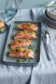 Salmon with a sweet potato and Jerusalem artichoke crust and pistachios