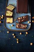Pistachio and chocolate hazelnut slices