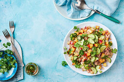 Warm nectarine dirty Cajun rice salad with jalapeno dressing