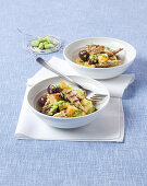 Bread salad with mackerel, olives and pureed beans and mint