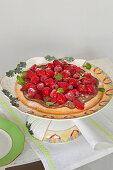 Raspberry nougat tart