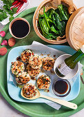 Asian fishcakes with spinach