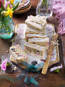 Easter white chocolate fudge with candies and pistachios