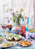 Easter buffet with eggs, herring, pie and cheesecake