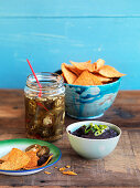 Texmex nachos with mole and pickled jalapenos