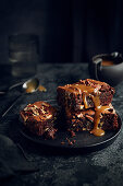 Chocolate and Pecan Brownie with Caramel Sauce