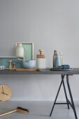 Kitchen utensils and ornaments in aqua shades