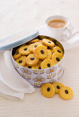 Orange biscuits with coffee beans
