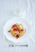 Tuna terrine with egg and a tomato and chilli salad